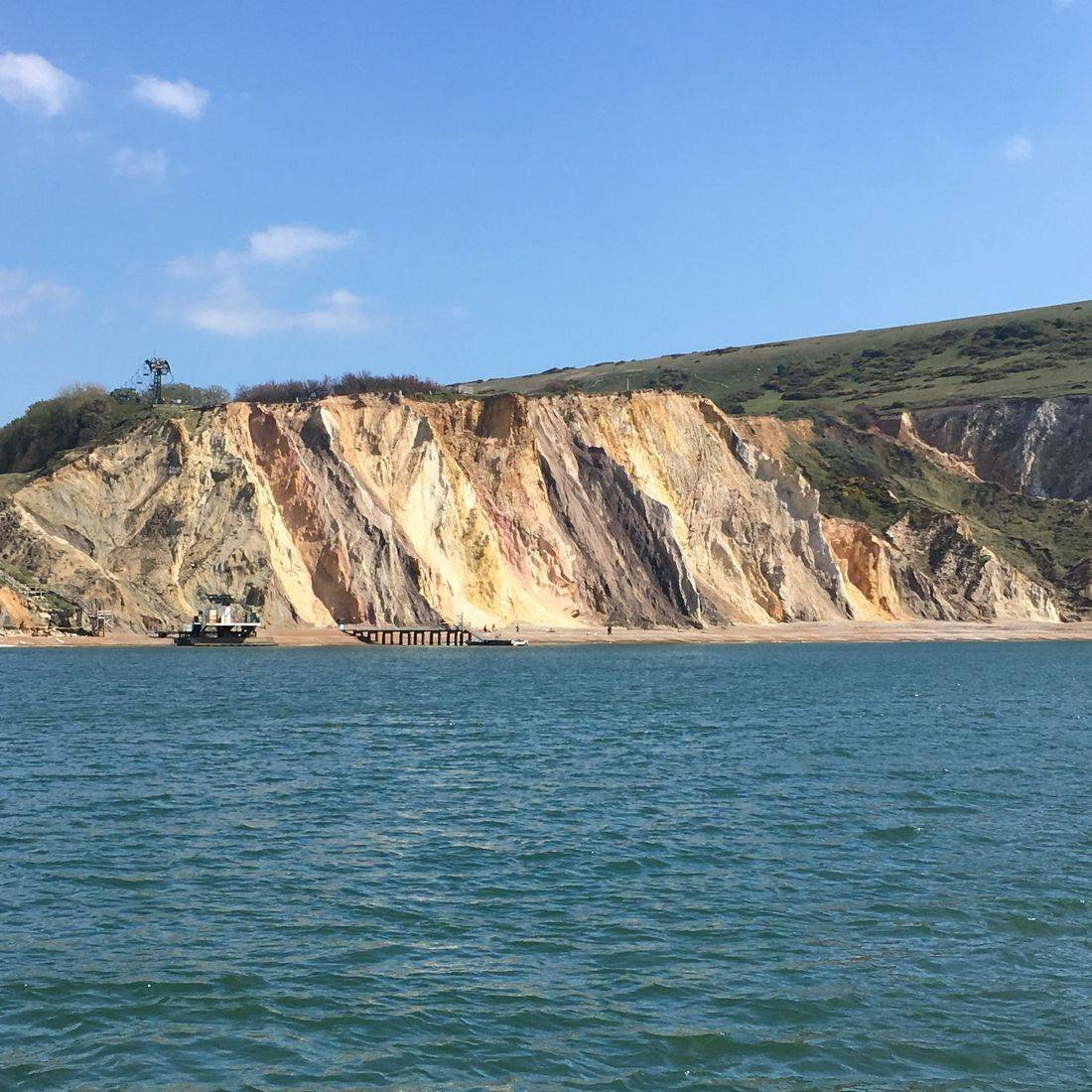 The coloured sand cliffs at Alum bay, Isle of Wight