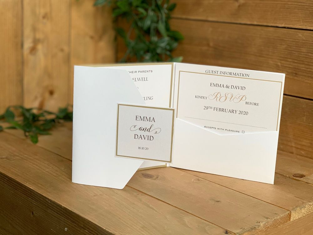 Pocket wedding invitation in white, pale pink and sage