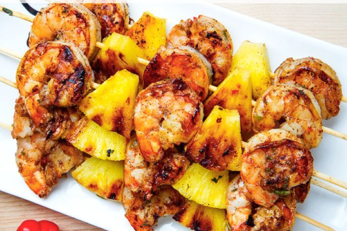 These are Arista's grilled shrimp and pineapple skewers