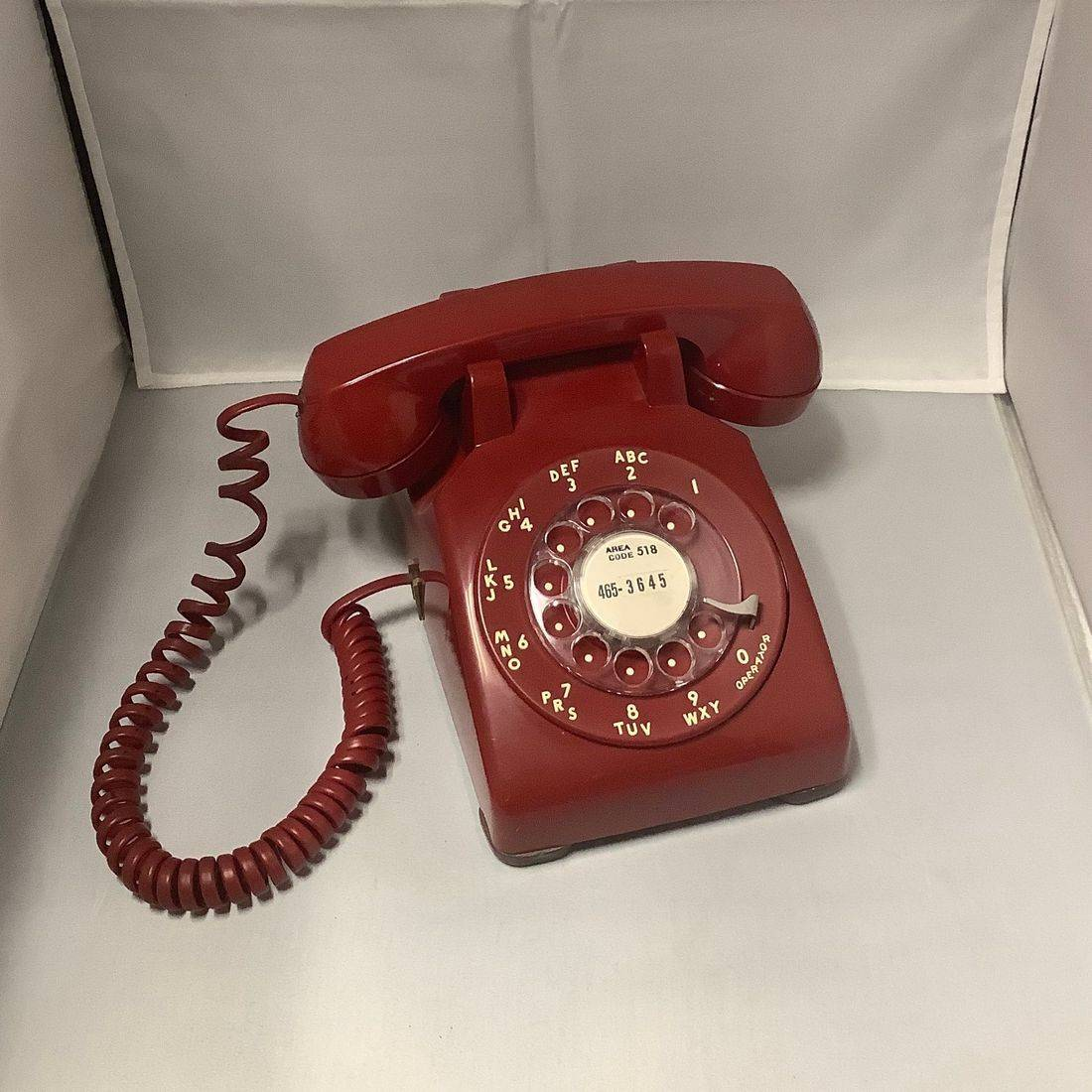 'Working' Vintage Red Rotary Bell System Telephone by Western Electric   $55.00