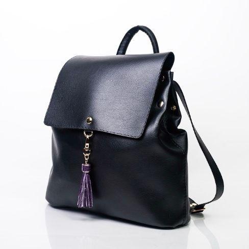 High Quality Vegan Leather Black Medium Size Backpack