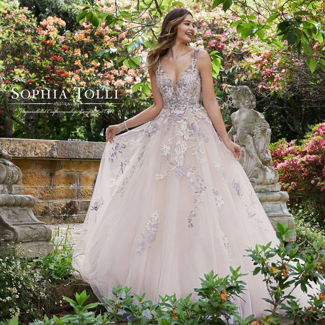sophia tolli, sophia tolli wedding dress, ballgown wedding dress, lace wedding dress, sparkle, wedding dress with straps, lace up back, corset back, coloured wedding dress, champagne wedding dress, princess dress, a line, sleeveless, illusion, sweetheart neck, chapel train