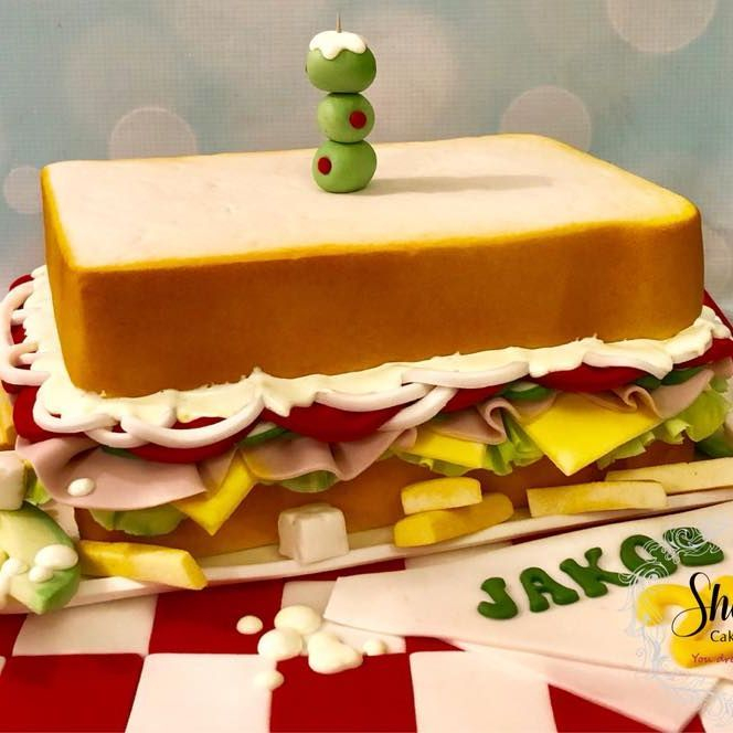 Novelty Sandwich Cake Avocado Chips Fries Cheese Tomato Onion Ham Lettuce Feta Mayonnaise Salad Cream