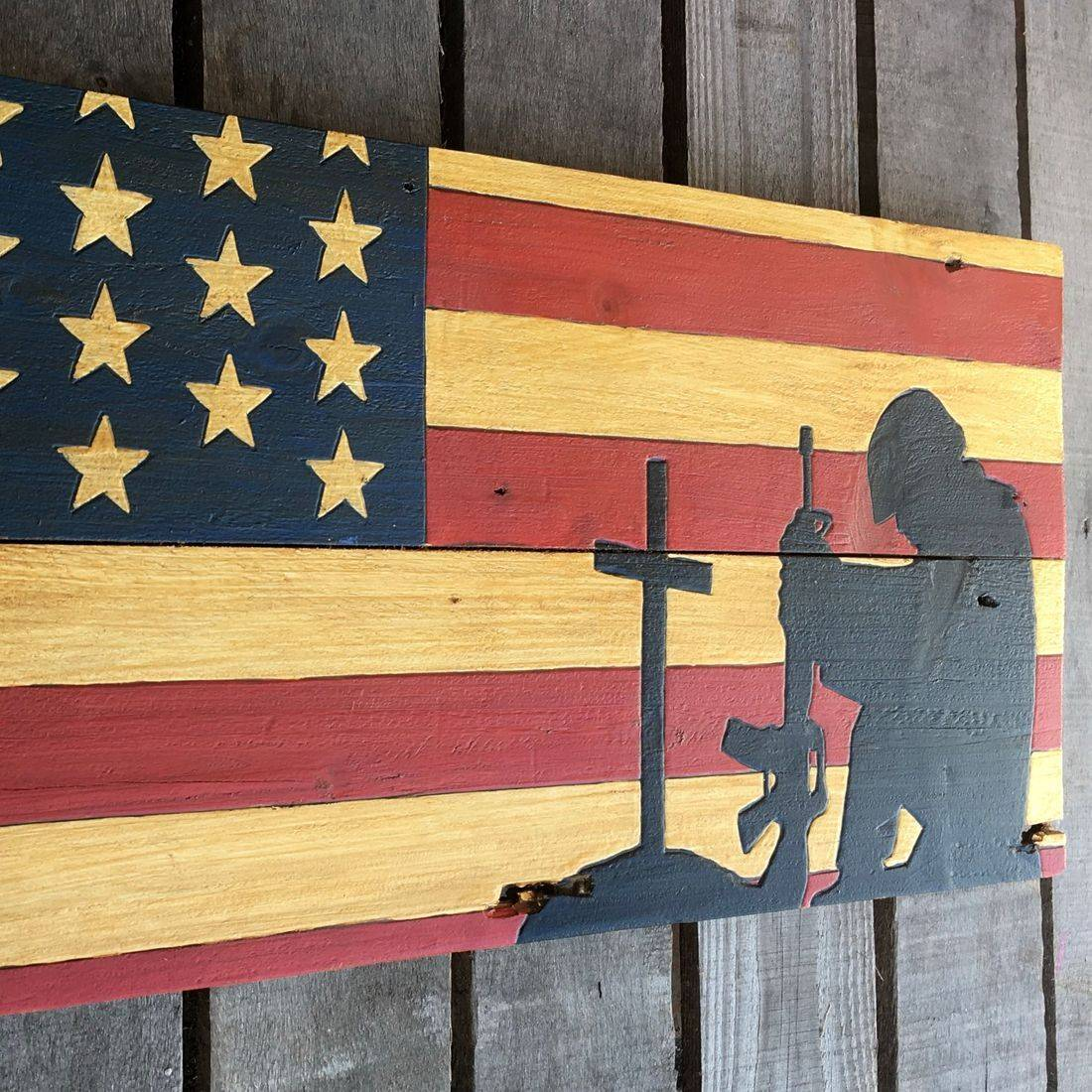 USA Handmade Reclaimed Pallet Wood American Military Army Flag Art