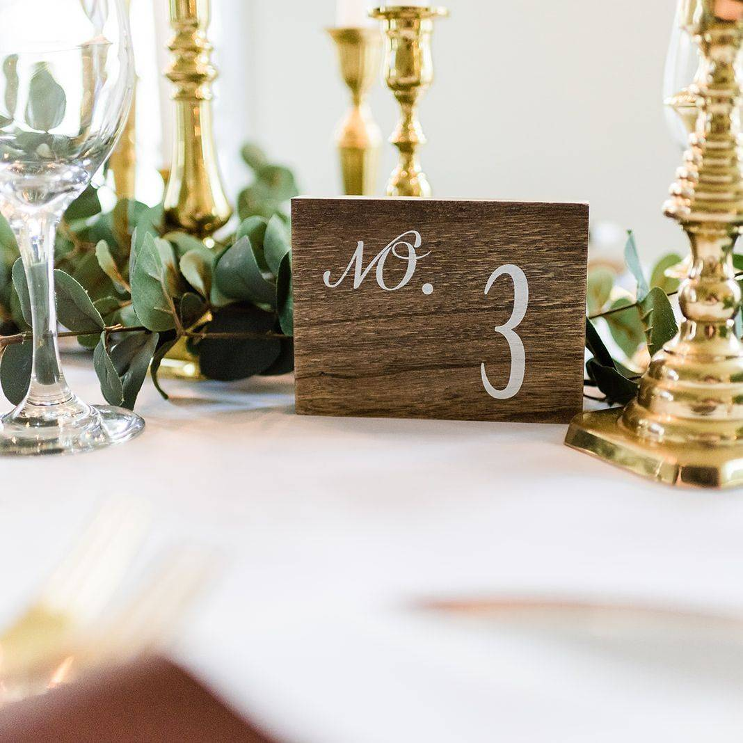 Wood table number, gold flatware, wood wedding decor, eucalyptus reception table, Gold candle wedding decor, wedding reception table, Chocolate wedding color