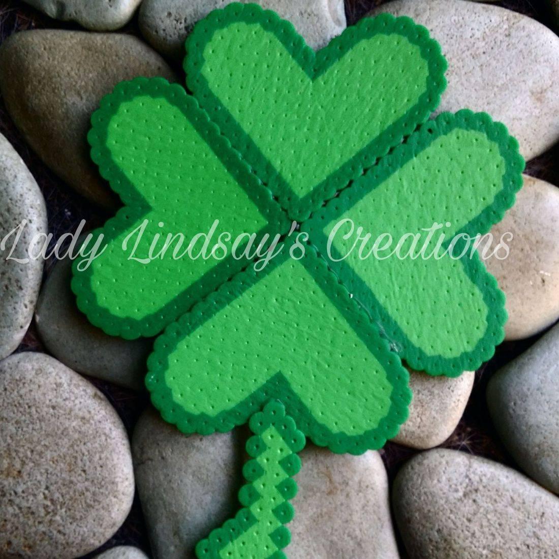 Shamrock, four leaf clover, clover, luck, lucky, Irish, Ireland,  handmade, pixel, pixel sprite, handmade