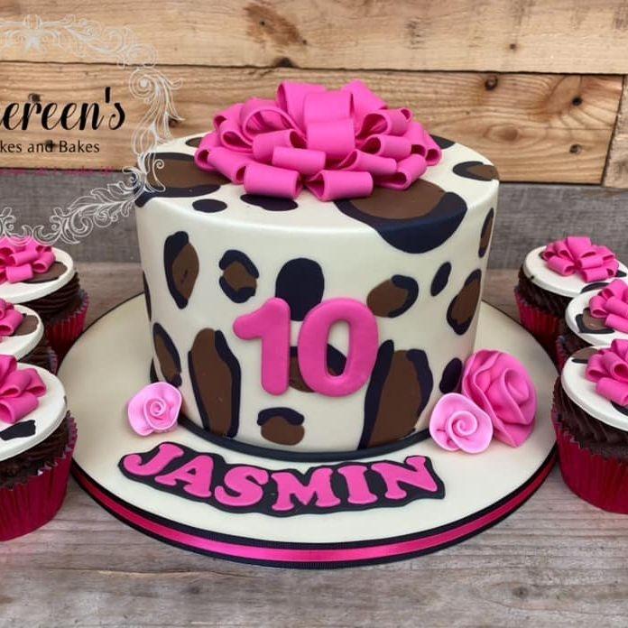 Animal Print Cake Birthday Pink Black Bow