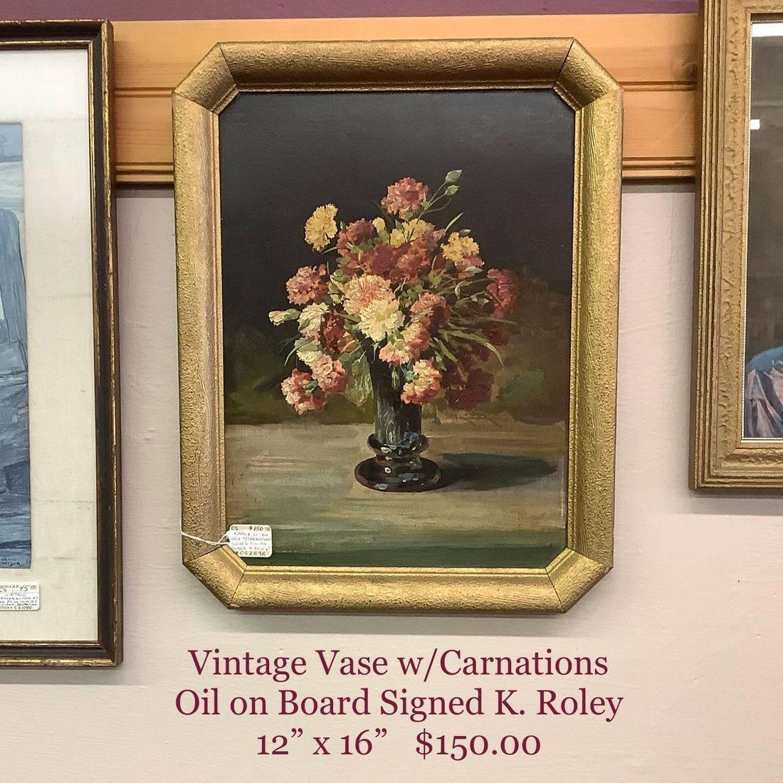 Vintage Vase w/Carnations Oil on Board signed K. Roley