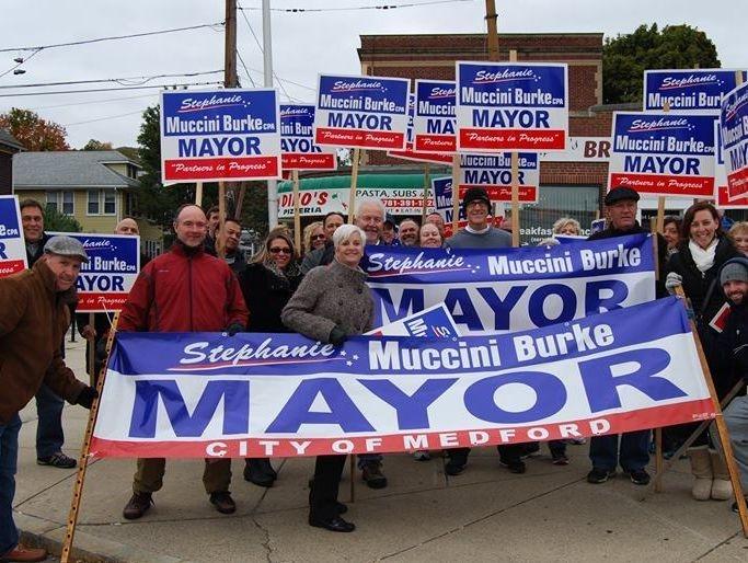 Mayor Burke and Team on Salem Street in Medford, MA