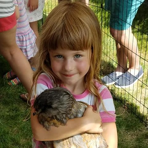 Little girl holding a chicken