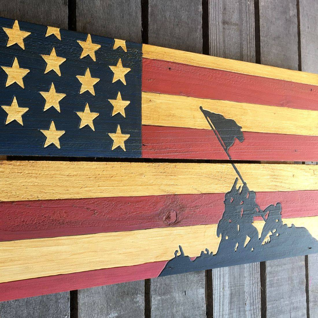 USA Handmade Reclaimed Pallet Wood American Military Iwo Jima Flag