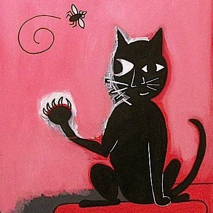 Cats, Nature, Fly, Fly on the Wall, Black Cat, Anthropomorphisms