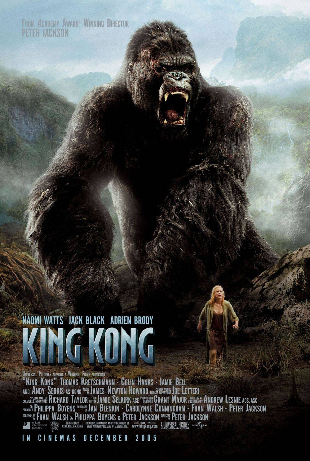 Movie poster for King Kong starring Jack Black & Naomi Watts
