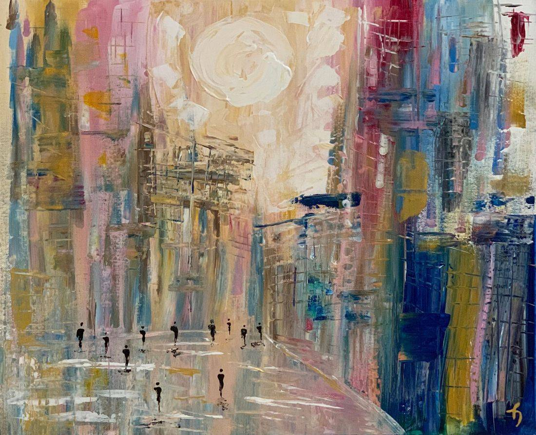 metropolis people cityscape original abstract acrylic abstract canvas painting