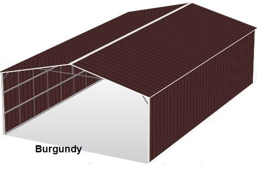 Burgundy Metal Structures