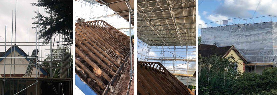 images of scaffolding to make a house watertight