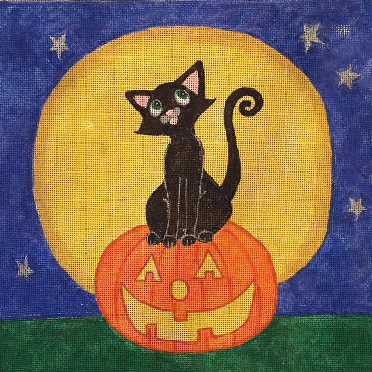 black cat, halloween, pumpkin, full moon