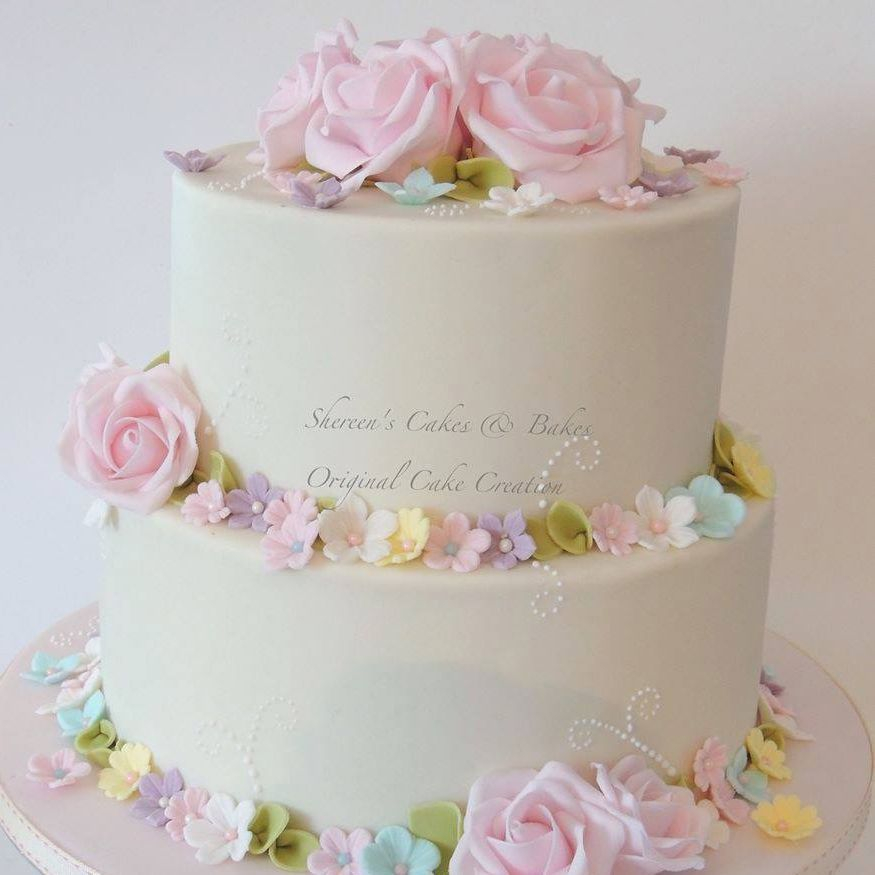 Pretty Pastel Flower Cake Roses Simple Wedding