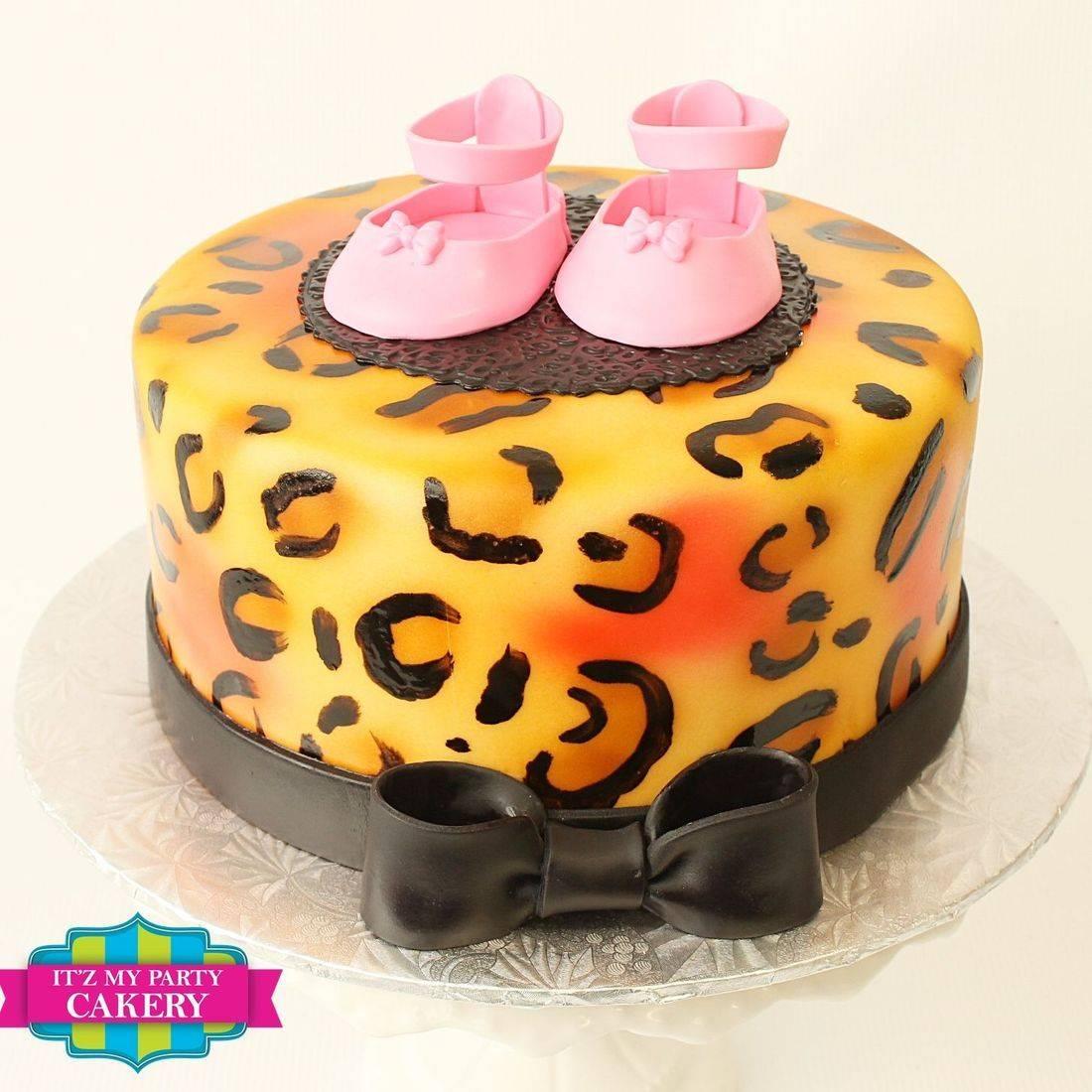 Custom   Cheetah Print Baby Bootie Cakes  Milwaukee