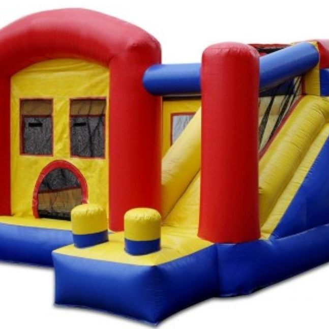 10x10 Bounce house with slide combo is perfect for kids 5 and under rents for $85 plus delivery fee for 3 hours $125 for all day including delivery*