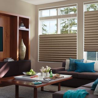 Hunter Douglas Solera blinds with top-down, bottom up option.