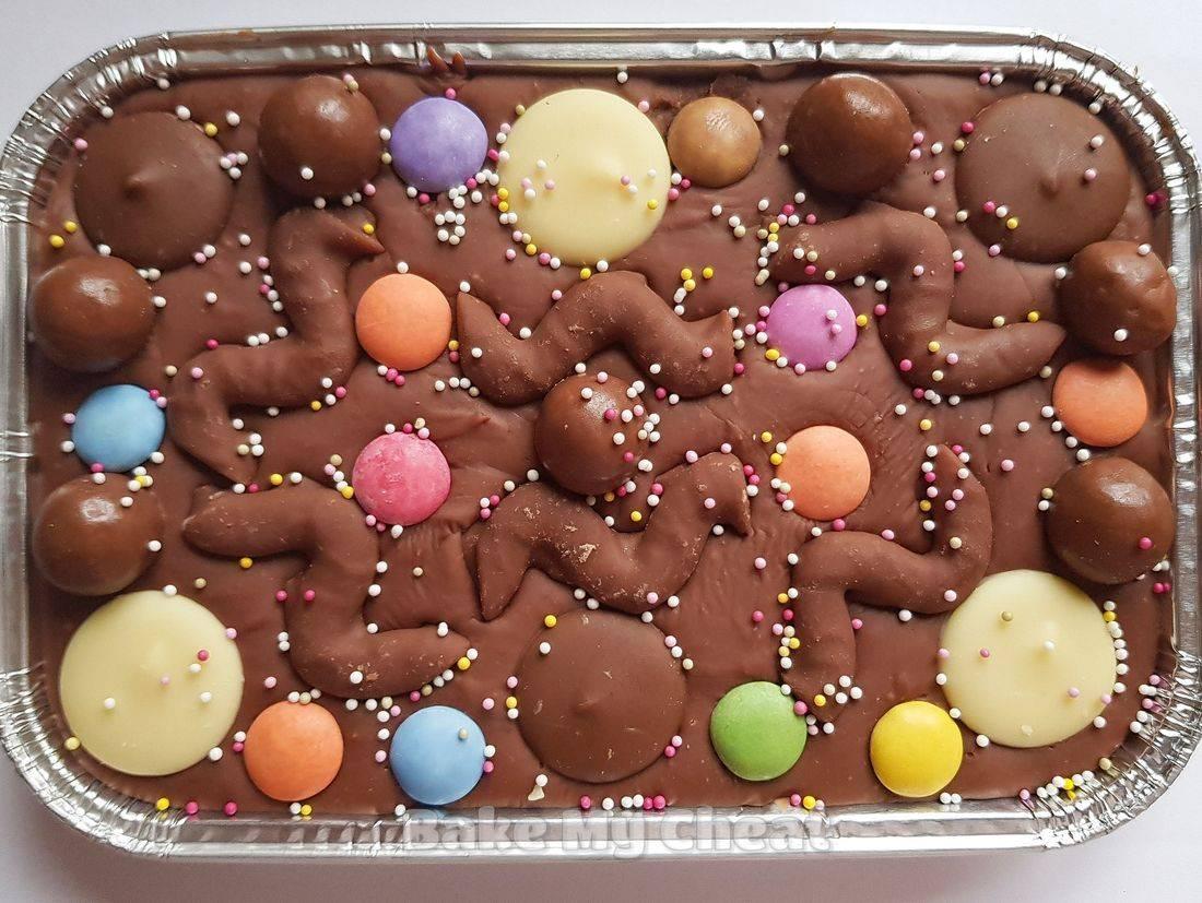 smarties fudge, chocolate buttons, sprinkles, malteser gift