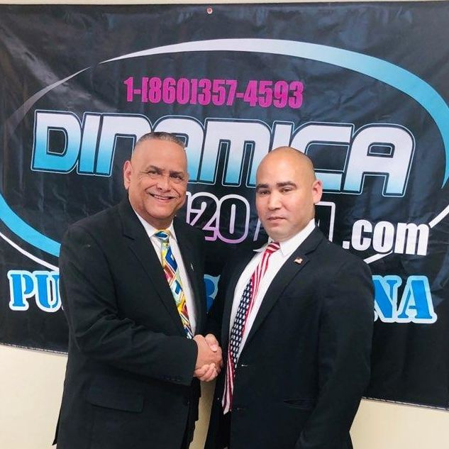 Dennis Diaz with the host of Hablando En Serio, Felix Vera. La Dinamica 1120AM. New Britain, CT.