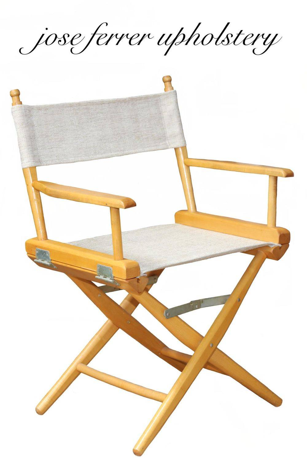 wooden frame directors chair done in white canvas fabic