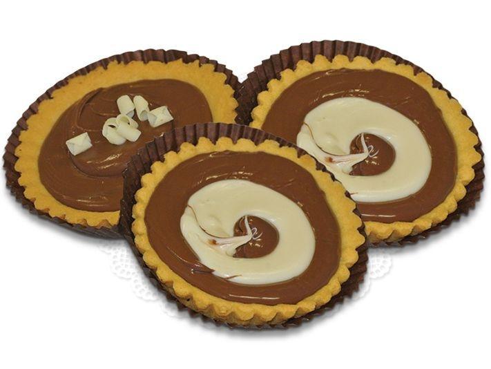 Tartelle Gianduia e Gianduia Bianca Tartelettes mit dunkler und weißer Gianduia Schokolade
