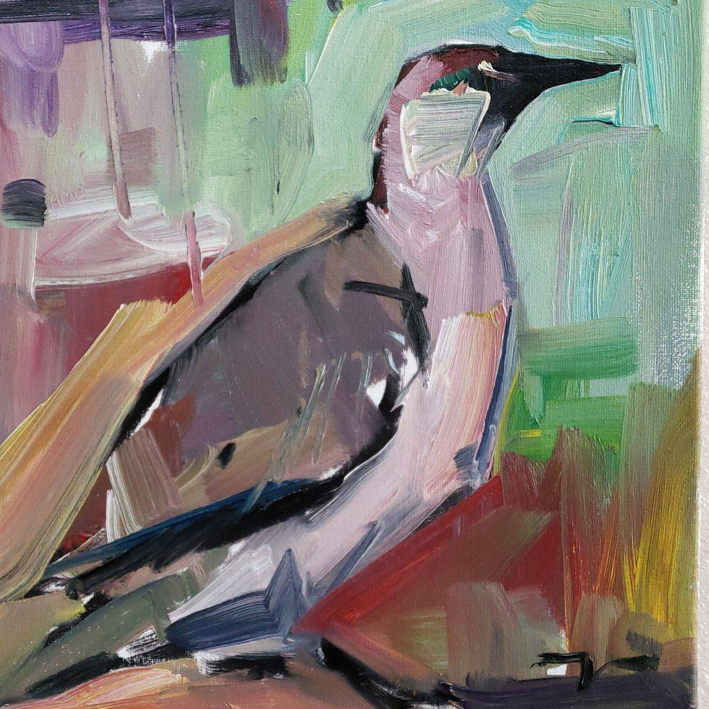 Bird original oil painting impressionism