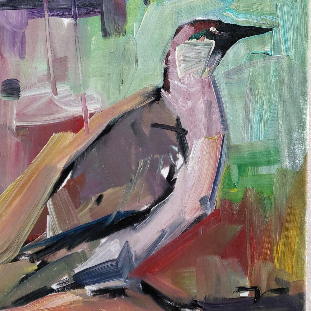 Bird original oil painting impressionism