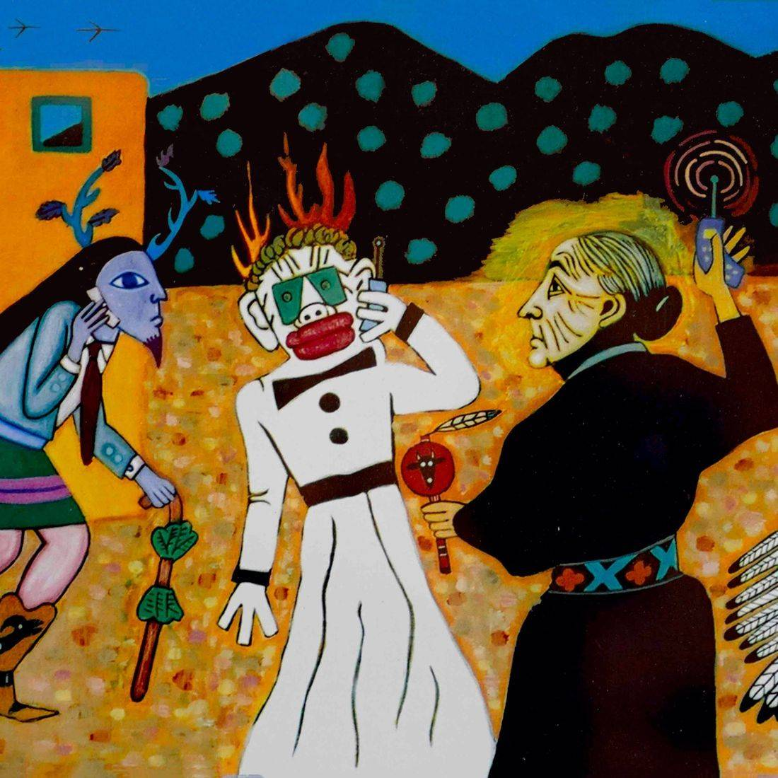 Southwest, Cellphone, Georgia O'Keeffe, Zozobra, Roswell Alien, Indian Dancer