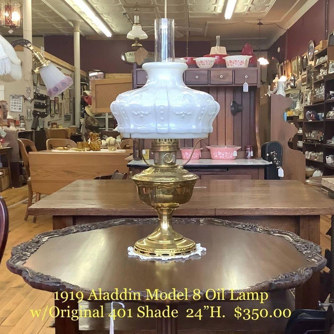 1919 Aladdin Model 8 Brass Oil Lamp w/New Wick, New Mantle, Original 401 Shade and 3- Line Heeless Chimney   $350.00