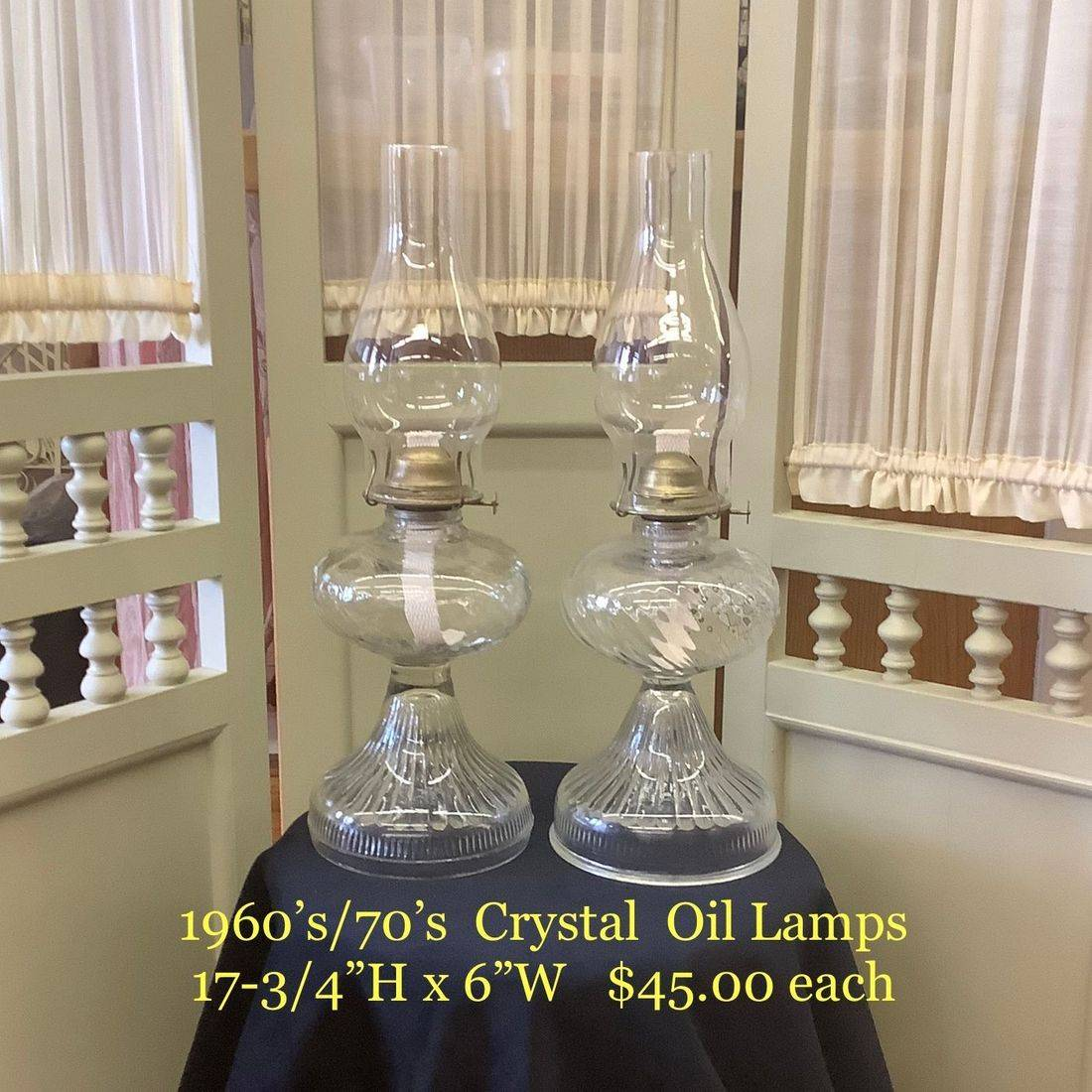 """1960's/70's Crystal Oil Lamps  17-3/4""""H x 6""""W  $45.00 each"""