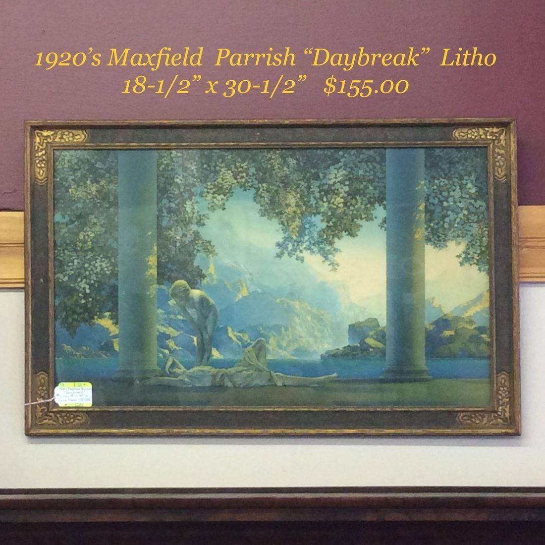 "1920's Maxfield Parrish ""Daybreak "" Litho  18.5"" x 30.5""   $155.00"