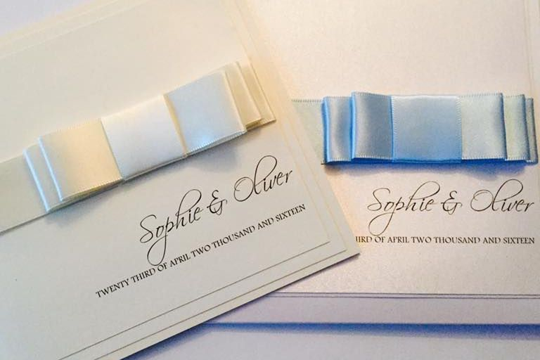 Wedding Invitations, Classic Fold Invitations, Handmade Wedding Invitations, Double Bow Invitations