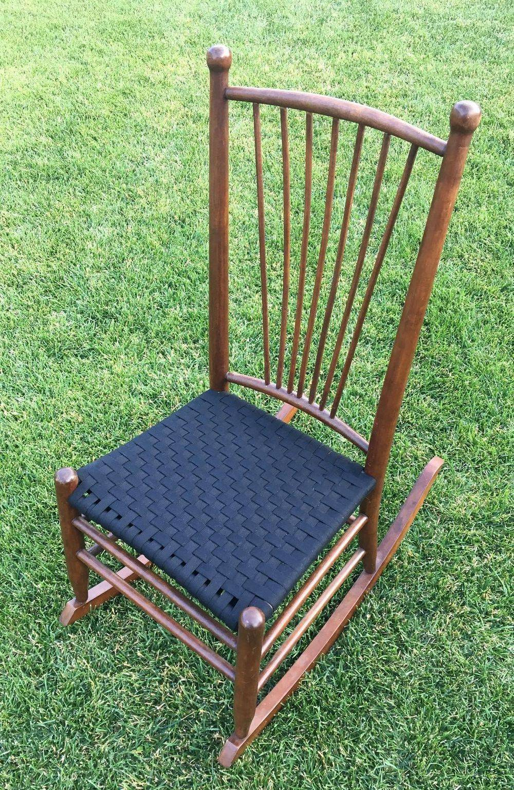 Rocking chair woven with black Shaker tape