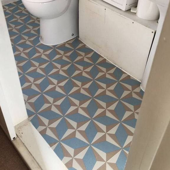 Bright retro design vinyl fitted in a bathroom