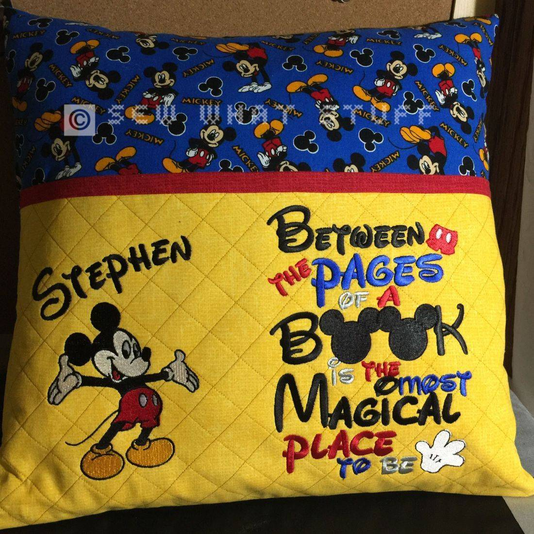Custom Mickey Mouse Reading Pillow