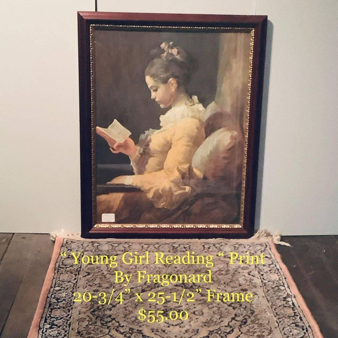 """ Young Girl Reading "" Print by Fragonard  20-3/4"" x 25-1/2"" Frame   $55.00"