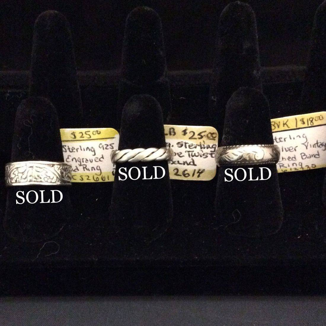 Sterling .925 Engraved, Band Ring  $25,  Vin. Sterling Sil., Rope Twist Band  $25,  Vin. Sterling Sil., Etched Band, Ring  $18.00