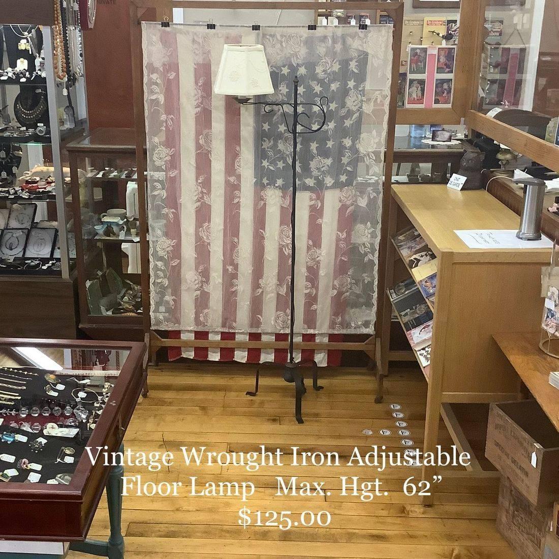 Vintage Wrought Iron Adjustable Floor Lamp   $125.00