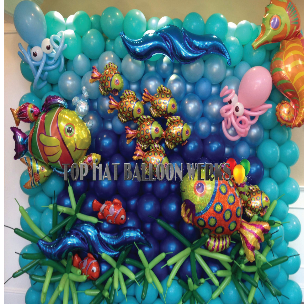 Under the Sea themed balloon wall