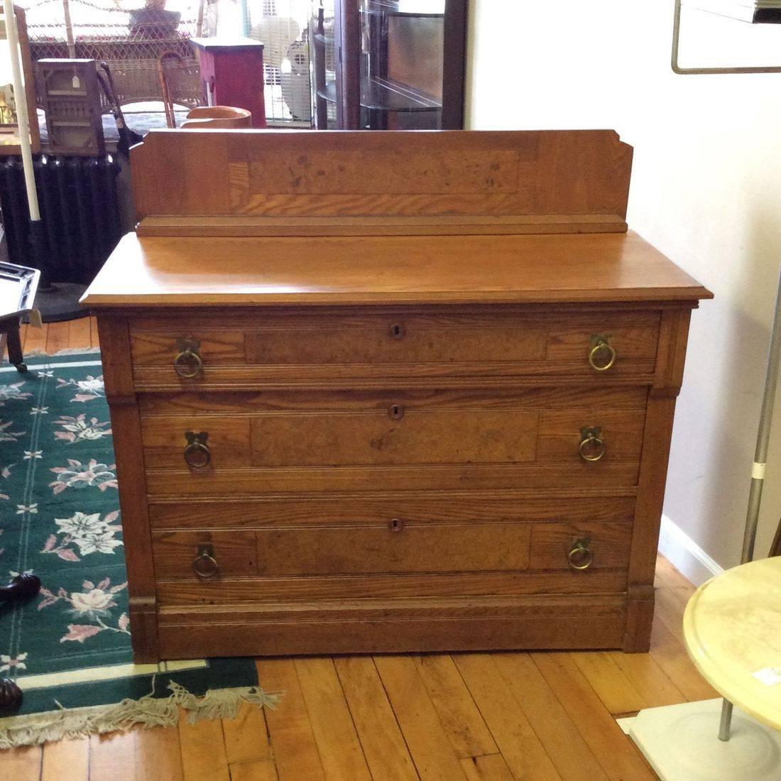 """1880's - 1890's Chestnut 3-Drawer Dresser w/Birdseye Maple Inlay Panels  40-1/2""""W x 18-1/2""""D x 28-3/4""""H ( 36-1/4""""H w/Backsplash )   $225.00"""