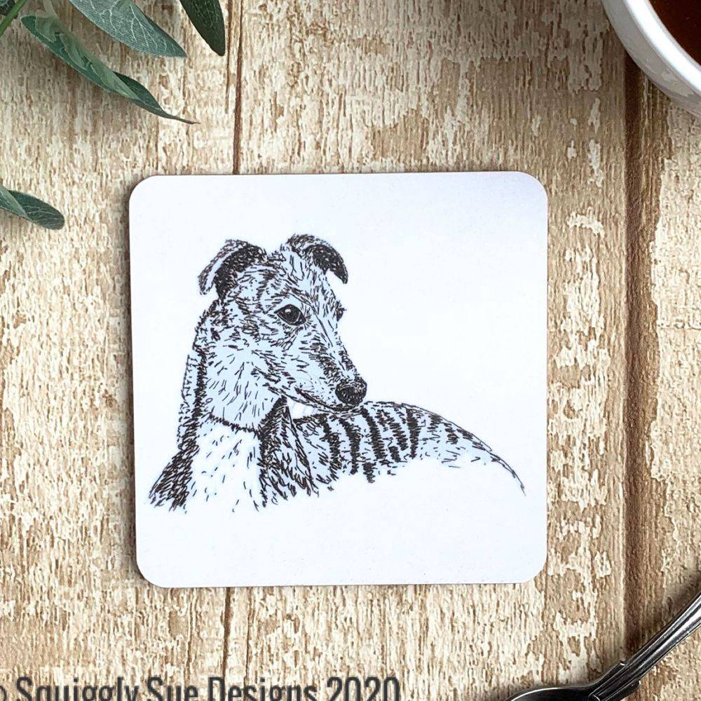 Whippet dog coaster pen & ink sketch