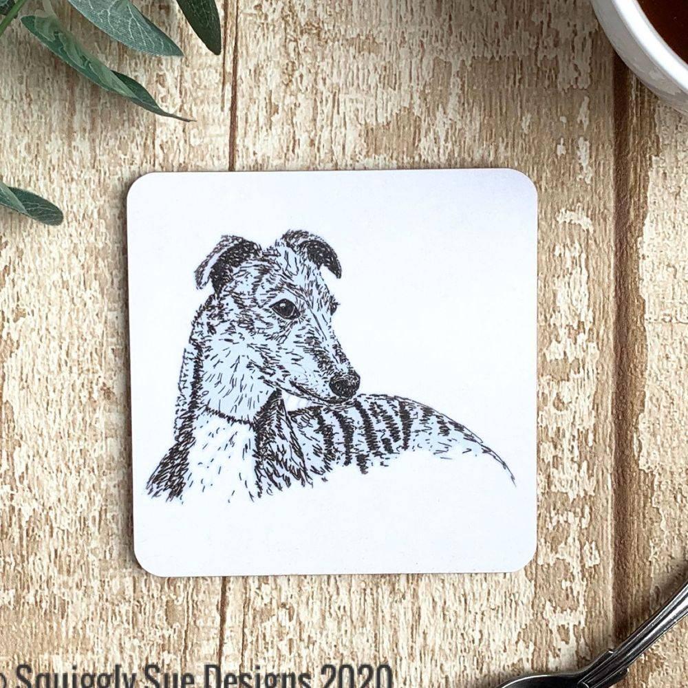Whippet dog coaster pen & ink sketch