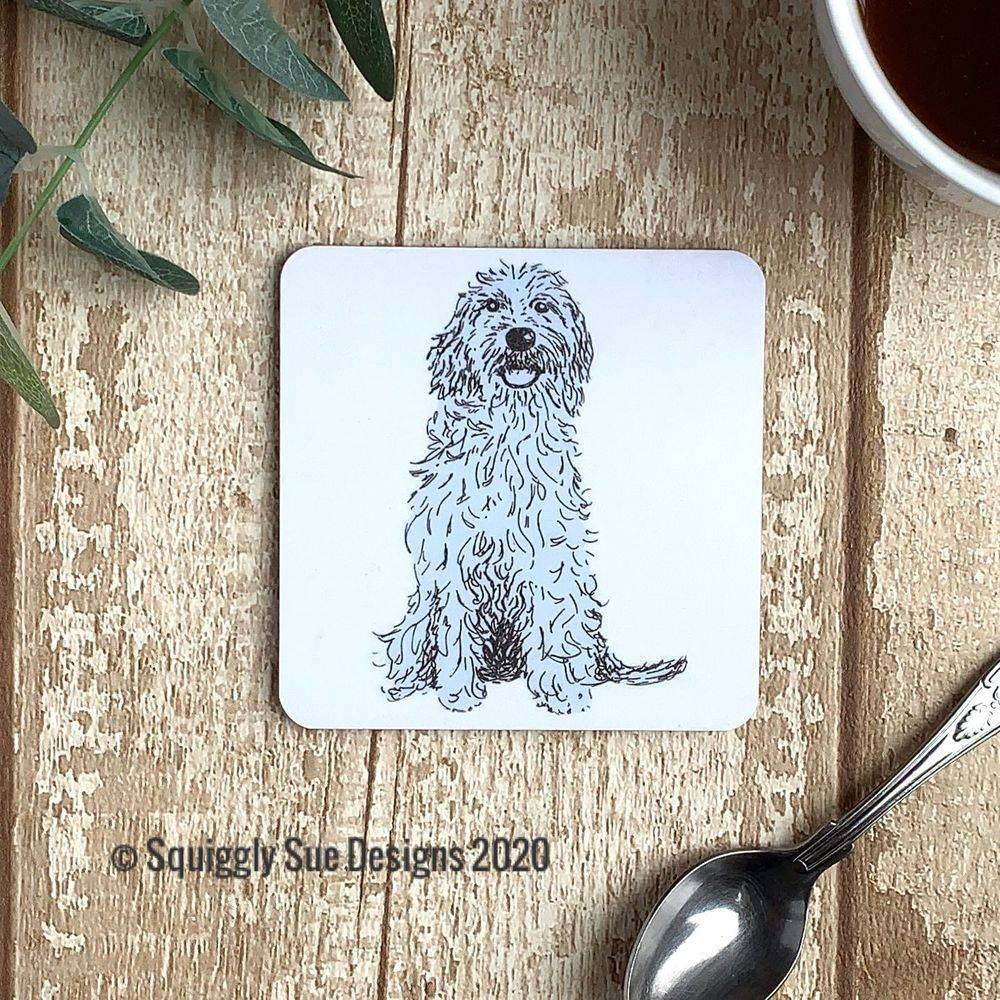 Cockerpoo dog coaster pen & ink sketch