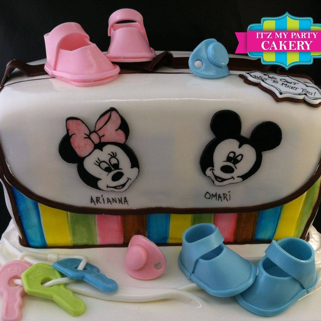 Mickey MInnie Diaper Bag Cake Carved Dimensional Cake Milwaukee