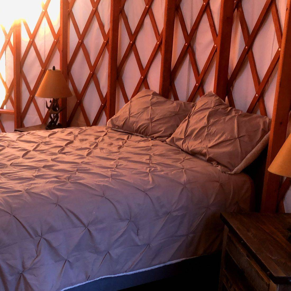 King Sized Bed in Yurt
