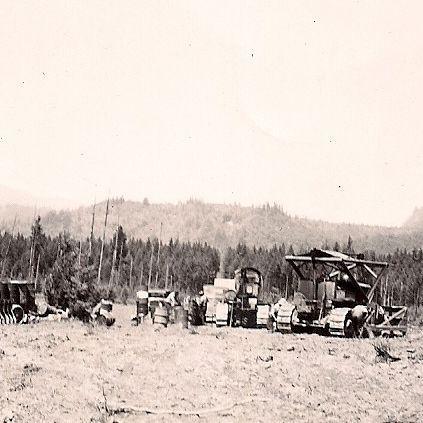 Tractors on field
